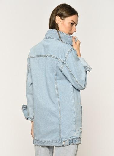 Loves You Yırtık Desenli Açık Boyfriend Jean Ceket Mavi